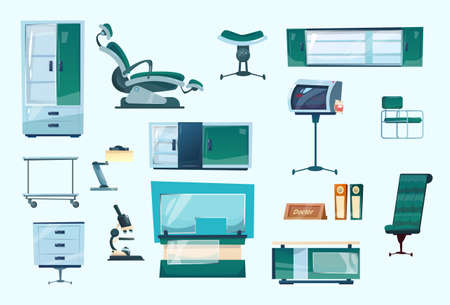 Dental Clinic Equipment Set Dentist Workplace Hospital Medicine Flat Vector Illustration