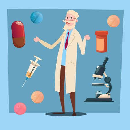 practitioner: Medical Doctor Senior Man Practitioner Pharmacist Flat Vector Illustration Illustration