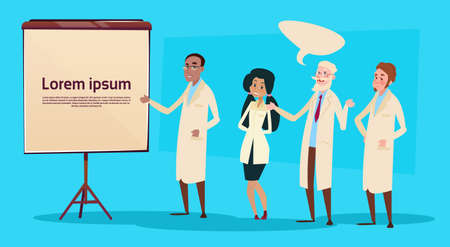 medical study: Mix Race Medical Doctors Group Team People Intern Lecture Study Flat Vector Illustration