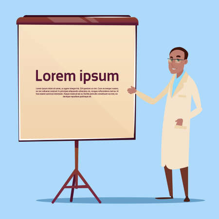 practitioner: Medical Doctor African American Man Practitioner Point To Empty Board Flat Vector Illustration