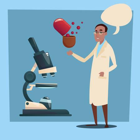practitioner: Medical Doctor African American Race Man Practitioner Flat Vector Illustration