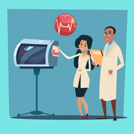 cardiologist: Medical Doctor Team Man and Woman Cardiologist Analysis Cardiogram Flat Vector Illustration Illustration