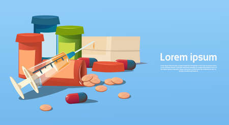 Medical Pills Tablets Bottle Health Care Flat Vector Illustration Illustration