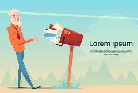 recipient: Senior Man Getting Letter From Full Mail Box Post Service Flat Vector Illustration