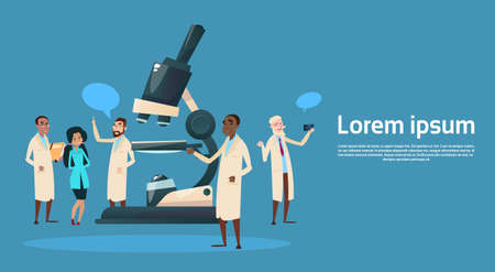 Group Medial Doctors Team Scientist Working Microscope Research Chemical Laboratory Flat Vector Illustration Vectores