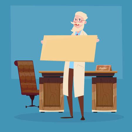 practitioner: Medical Doctor Senior Practitioner Hold Empty Board Flat Vector Illustration