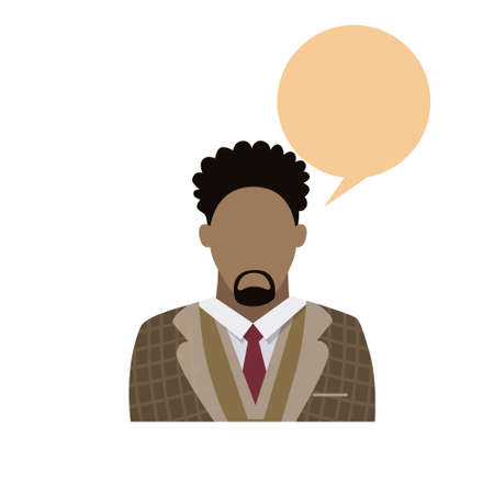 african american male: Profile Icon African American Male Avatar Man Beard Portrait Casual Person Silhouette Face Chat Bubble Flat Vector Illustration