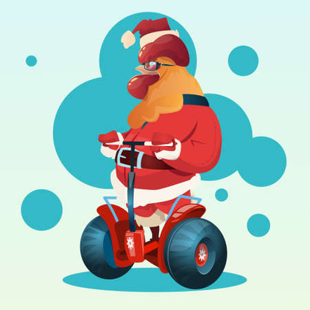 Happy New 2017 Year Rooster Ride Electric Scooter Asian Horoscope Symbol Flat Vector Illustration