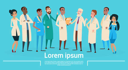 group therapy: Group Medial Doctors Team Clinic Banner Flat Vector Illustration Illustration
