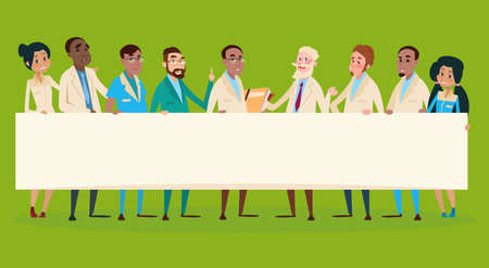 Group Medial Doctors Team Clinic Stuff Hospital Hold Banner Flat Vector Illustration