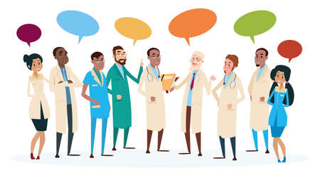 group therapy: Group Medial Doctors Team Hospital Stuff With Chat Box Vector Illustration