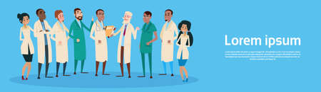 Group Medial Doctors Team Clinic Banner Flat Vector Illustration Illustration