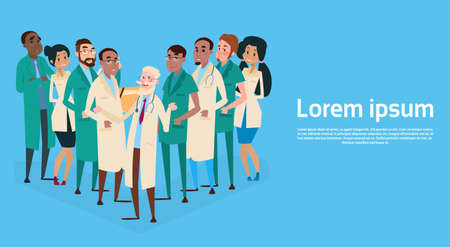 therapy group: Group Medial Doctors Team Clinic Banner Flat Vector Illustration Illustration
