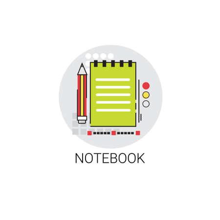 workbook: Workbook Notebook Writing Tool Icon Vector Illustration