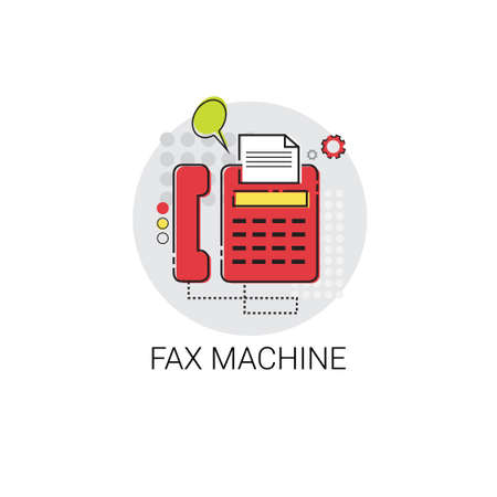 xerox: Fax Machine Work Office Technology Device Icon Vector Illustration