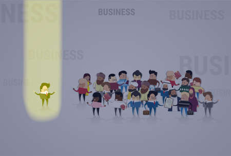 stand out from the crowd: Businessman Stand Out From Crowd, Spotlight Hire Mix Race Human Resource Recruitment Candidate People Group Business Team Vector Illustration