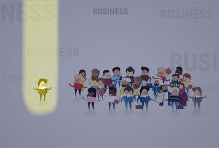 Homme d'affaires se démarquer de la foule, Spotlight Hire Mix Race Ressources humaines Recrutement Candidat Personnes Groupe Équipe commerciale Illustration vectorielle