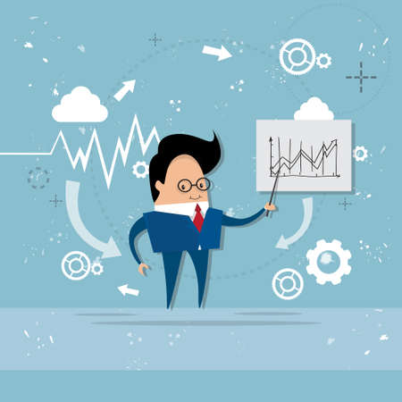 account executives: Business Man Showing Finance Chart Graph Report Vector Illustration Illustration