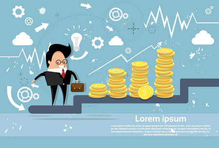 Businessman Climb Stairs Financial Success Business Man Growth Chart Flat Vector Illustration
