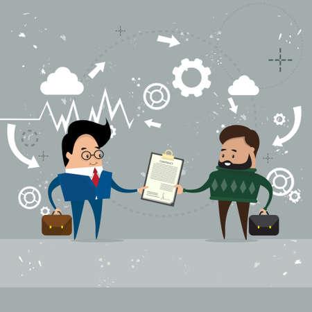share information: Businessman Give Folder Document Papers, Businessmen Share Information Data Flat Vector Illustration Illustration