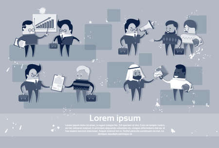 Cartoon Business People Mix Race Human Resource Communication Meeting Set Flat Vector Illustration Illustration