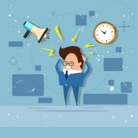 overworked: Busy Business Man Multitasking Overworked Deadline Flat Vector Illustration