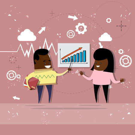 briefing: African American Business Man And Woman Showing Finance Chart Graph Report Vector Illustration