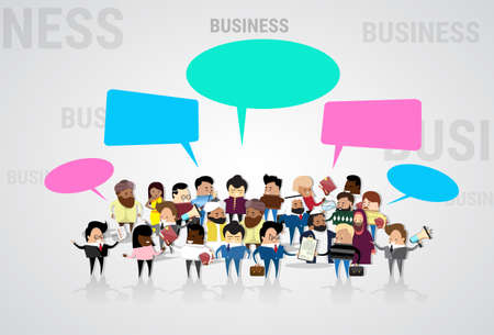 communication cartoon: Group of Business People Cartoon Mix Race Businesspeople Talking Discussing Chat Communication Social Network Vector Illustration