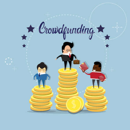 funding: Business People Group Crowd Funding Investment Concept Flat Vector Illustration Illustration