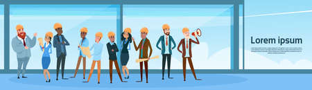 Builder Team Architect Mix Race Workers Flat Vector Illustration