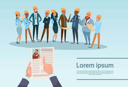 Curriculum Vitae Recruitment Candidate Job Position, Hands Hold CV Profile Builder Team Architect Mix Race Workers Flat Vector Illustration