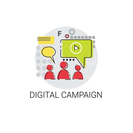 campaign: Digital Campaign Content Marketing Icon Vector Illustration