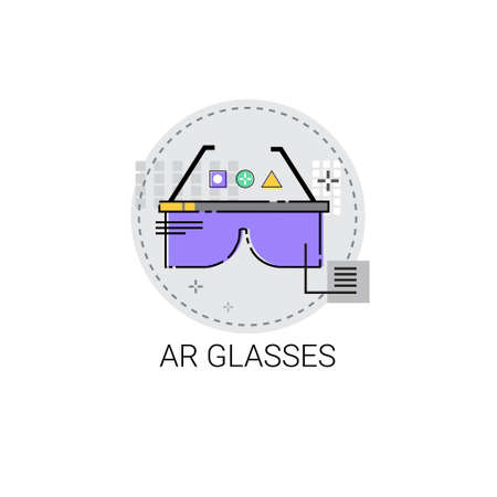 ar: Ar Glasses Augmented Reality Visual Technology Icon Vector illustration