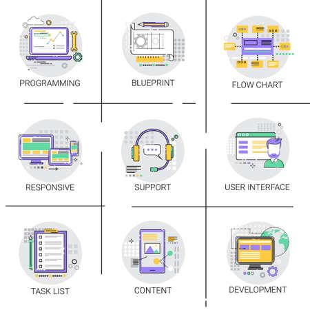 computer programming: Software Application Interface Development Computer Programming Device Technology Content Icon Set Vector Illustration