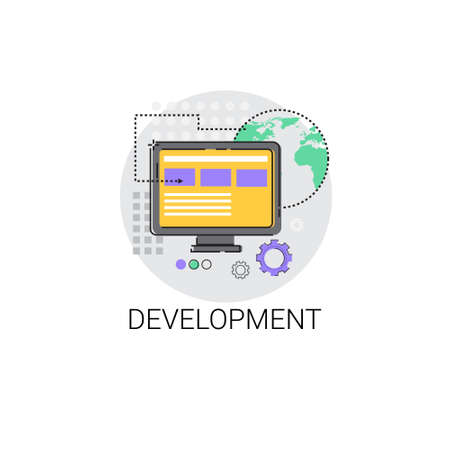 coder: Software Development Computer Programming Device Technology Icon Vector Illustration