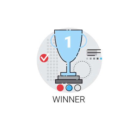 sports symbols metaphors: Winner Cup Top Award Success Business Icon Vector Illustration
