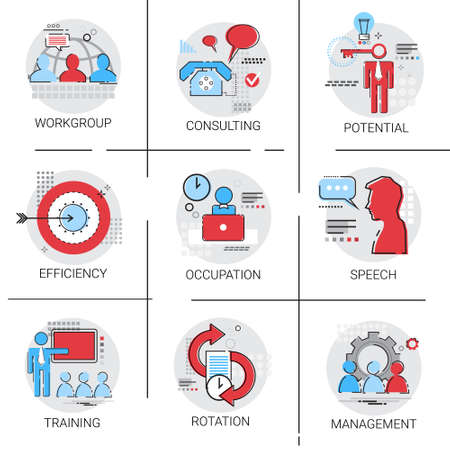 potential: Management Business Team Leadership Icon Set Occupation Training Speech Potential Collection Vector Illustration
