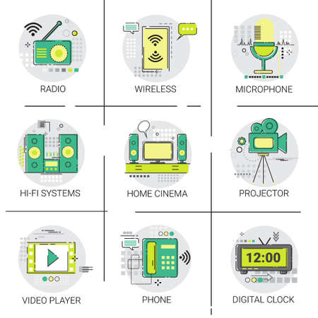 wireless connection: Video Player Entertainment Radio Wireless Connection Icon Set Vector Illustration