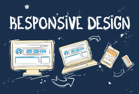 responsive: Responsive Design Laptop Phone Tablet Desktop Device Screen Size Doodle Hand Draw Sketch Background Vector Illustration Illustration