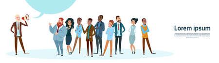 Businessman Boss Hold Megaphone Loudspeaker Colleagues Mix Race Business People Team Group Flat Vector Illustration  イラスト・ベクター素材