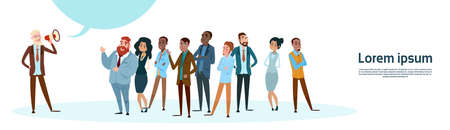 Businessman Boss Hold Megaphone Loudspeaker Colleagues Mix Race Business People Team Group Flat Vector Illustration Illustration