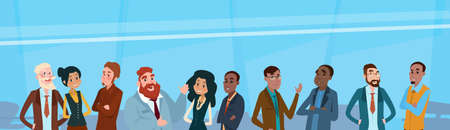 mix: Business People Team Mix Race Businesspeople Group Flat Vector Illustration