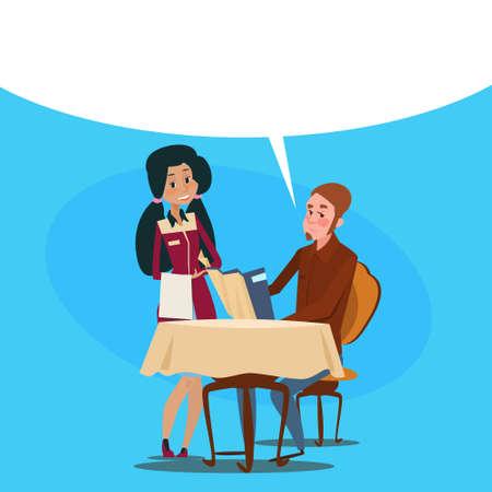 serving people: Restaurant Stuff Waitress Serving Client Mix Race People Cafe Interior Flat Vector Illustration