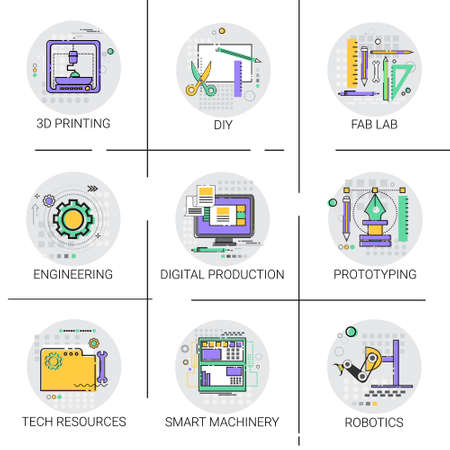 fab: Smart Machinery Industrial Automation Production Icon Set, 3d Printing Tech Resources Fab Lab Collection Vector Illustration Illustration