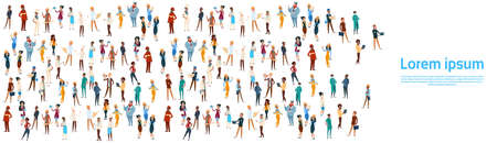 People Group Different Occupation Set, Employees Mix Race Workers Banner Flat Vector Illustration Vetores