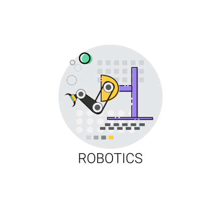robotics: Robotics Smart Machinery Industrial Automation Industry Production Icon Vector Illustration