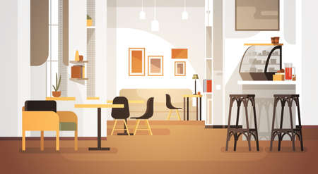 Modern Cafe Interior Empty No People Restaurant Flat Vector Illustration