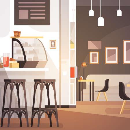 modern illustration: Modern Cafe Interior Empty No People Restaurant Flat Vector Illustration
