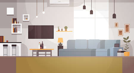 Modern Living Room Interior Empty No People House Flat Vector Illustration