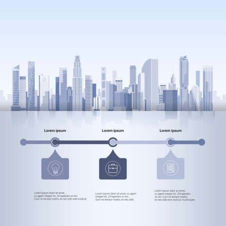 copy space: City Skyscraper View Cityscape Background Skyline Silhouette with Copy Space Infographics Vector Illustration